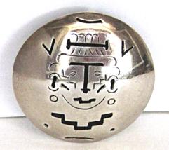 Vintage Sterling Mexico Aztec Brooch Mayan Face... - $39.00