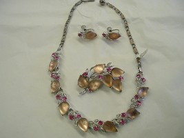 Lisner Pink Frosted Glass Parure Necklace Brooc... - $75.00