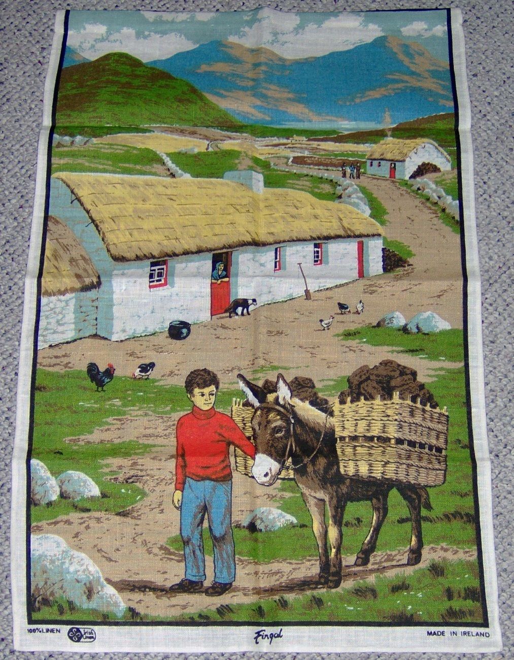 Irish Linen Wall Hanging Fingal Thatched Roof Cottage Boy Donkey
