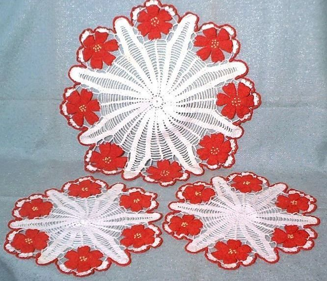 Vintage hand crocheted doilies doily set white red