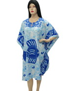 FISH Printed Plus Size Beach Cover Up Kaftan Caftan