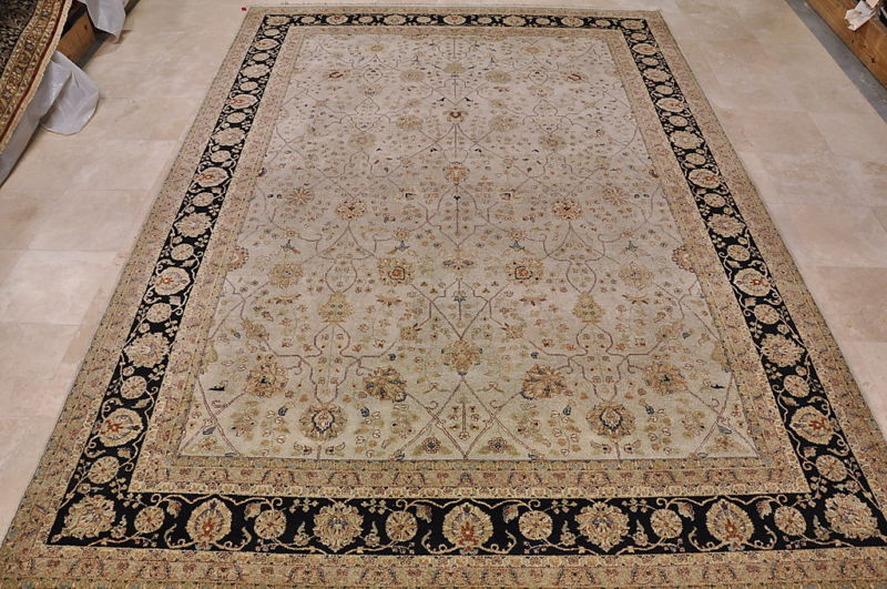 10x14 AREA RUG HANDMADE KNOTTED BEIGE BLACK TWISTED DYE