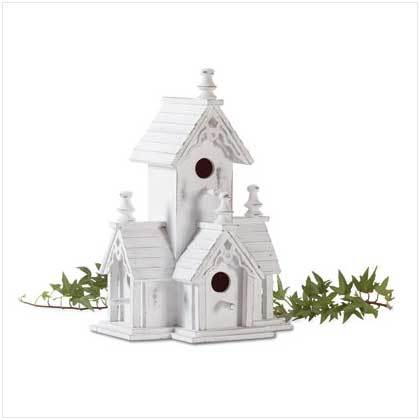 VICTORIAN-STYLE DISTRESSED WHITE BIRDHOUSE!!