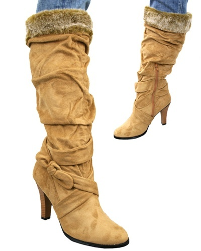 Camel Sued Bellissimo Boots with fur trim
