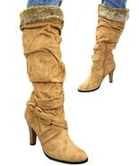 Camel Sued Bellissimo Boots with fur trim  - $34.99