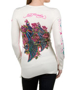 NWT $159 Ed Hardy Off-White Rose Side Cinched R... - $78.00