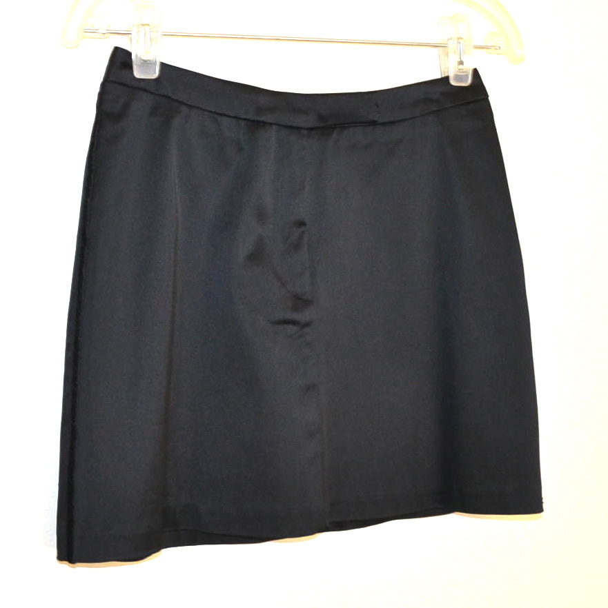 FCUK SKIRT French Connection UK Black Satin Tuxedo Mini Evening Dressy sz 2 Chic
