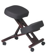Mahogany Finish Wood Black Memory Foam Ergonomi... - $112.00