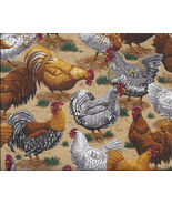 1 Yard Chicken Rooster Print Cotton Quilt Fabric  VIP - $3.99