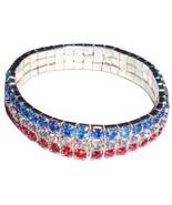 USA Stretch Bracelet Three Row Crystal Red Whit... - $13.99
