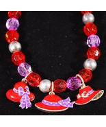 Red Hat Stretch Bracelet with 3 Hat Charms - $1.95