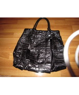 MIU MIU Black Crinkled Patent Leather Tote Hand... - $680.00