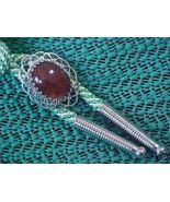 Old Silver Filigree Bolo Tie Red Moss Agate Gre... - $9.00