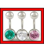 Lot 14g 1/4~6mm Belly Button Navel Rings Bar Ea... - $6.99