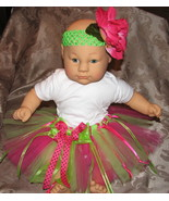 3-6 month baby tutu pink &amp; lime green w headband &amp; flower