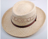 Natural Straw Gambler Hat - Size Small