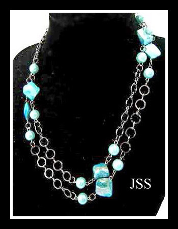 Blue Mother of Pearl Necklace with Silver Circles