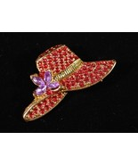 Red Hat Pin with Purple Crystal Flowers - $4.95