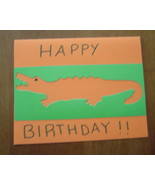 Alligator Happy Birthday blank Card, Handcrafte... - $3.95