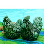 Vintage Salt Pepper Shakers Green Rooster Hen C... - $9.95