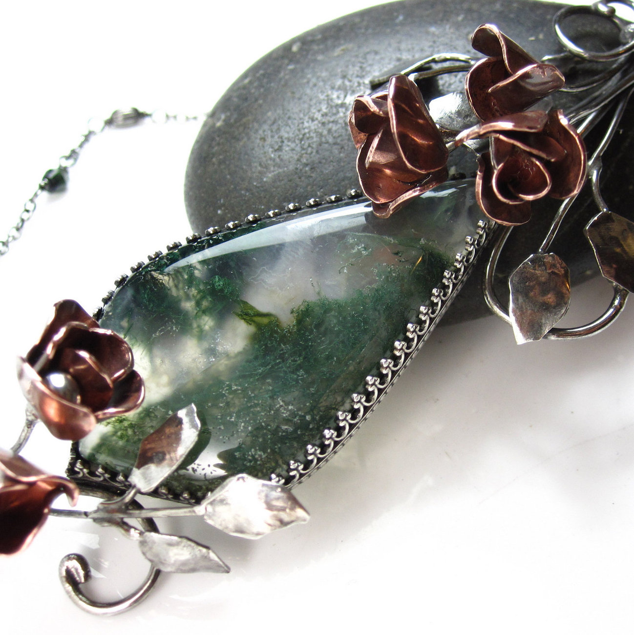 And the Roses Grew Around the Moss - Moss Agate Necklace
