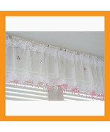 pink beads valance curtain sheer window kitchen... - $16.50