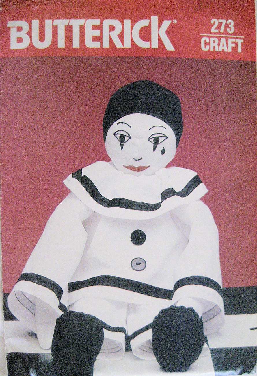 Butterick 0273 Mime Clown Doll 21 inch Unique Craft Pattern