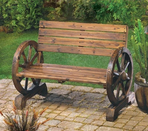 Wood Bench Chair Outdoor Wagon Wheel Porch Ranch Seat Western Country