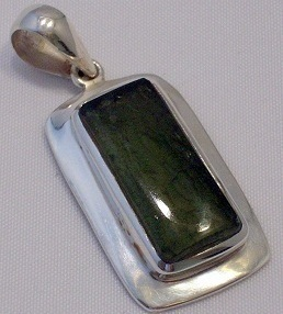 Buffed Top Moldavite Pendant Tektite 925 Sterling Silver Jewelry #3