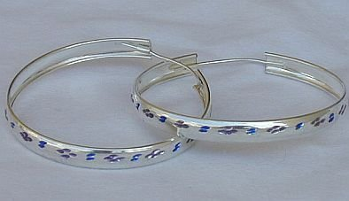 purple and blue A hoops earrngs