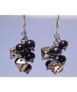 Earrings Sterling Silver Dangle Black Pearls Ti... - $9.99