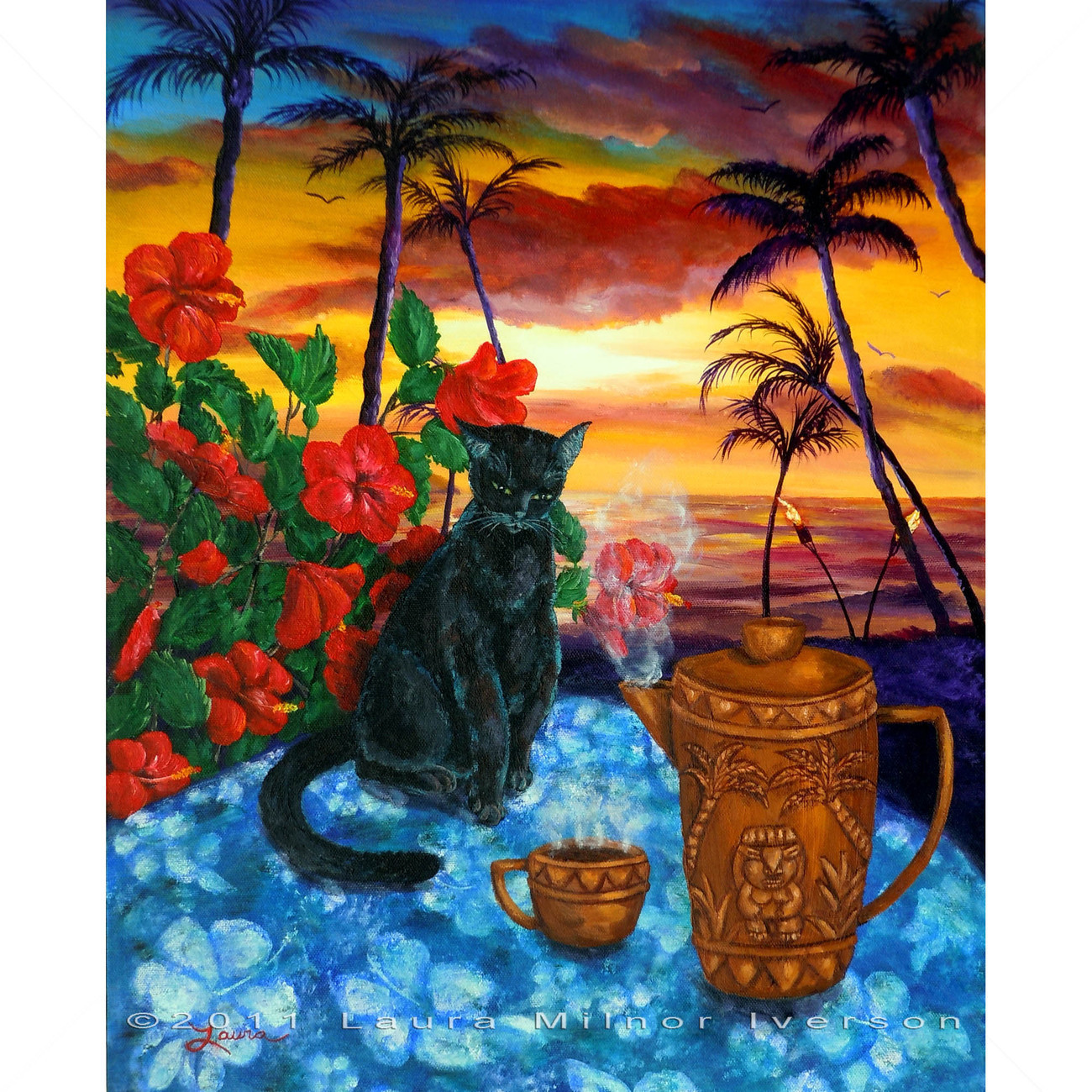 Original Painting Black Cat Coffee Pot Tropical Hibiscus