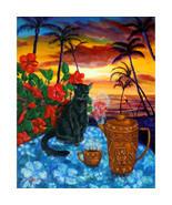 Original Painting Black Cat Coffee Pot Tropical... - $1,200.00