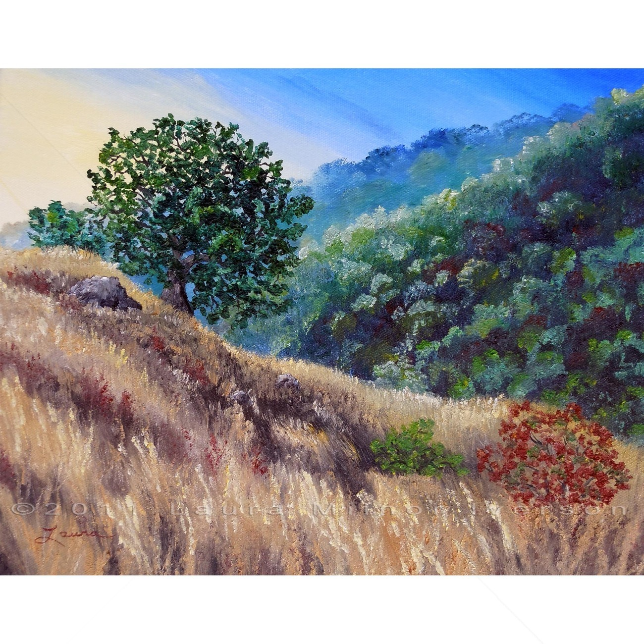 Original Oil Painting California Oak Tree Hill Hillside Impressionist Landscape