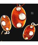 Copper Glass Silver Oval Pendant n Earring Set  - $13.50