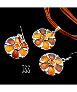 Brownish Orange Flower Circle Earring and Necklace - $13.50