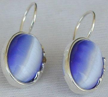 Light Blue oval earrings F
