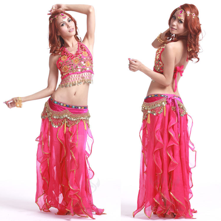 Belly Dance Costume Halter Top,Dance Pant,Hip Scarf  FUCHSIA
