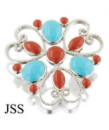 3 Heart Beautiful Brooch Red and Turquoise Grea... - $12.00