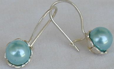 Light blue pearls earrings