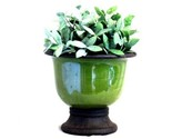 Buy Decorative Plant Stands - Round Pearlized Green Glass Vase With Rusty Metal Stand &amp; Pt