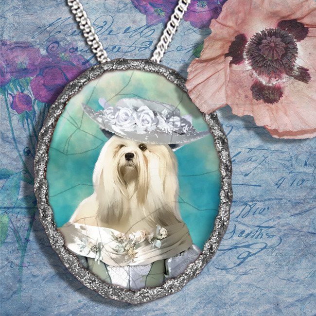 Lhasa Apso Jewelry Brooch Handcrafted Ceramic PENDANT OPTINAL