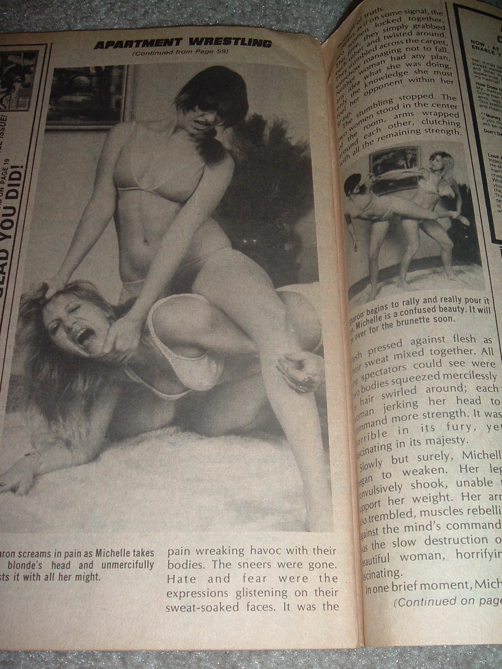Apartment Wrestling Girls http://www.bonanza.com/listings/Sports-Review-Wrestling-November-1978-Apartment-Women-WWE/38189829