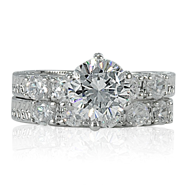 2.75 Carat Premium Russian Round CZ Rhodium Plated Wedding Ring Set Size 8