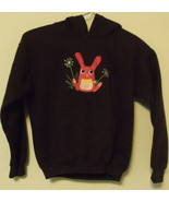 Girls Gildan Brown with Pink Bunny Hooded Sweat... - $8.00