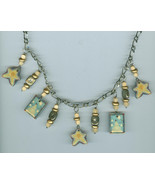 Snowmen Stars Winter Christmas Necklace Blue Pe... - $11.99