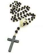 FREEBIE - Fashion Cross Necklace Black Pearl Ro... - $0.00