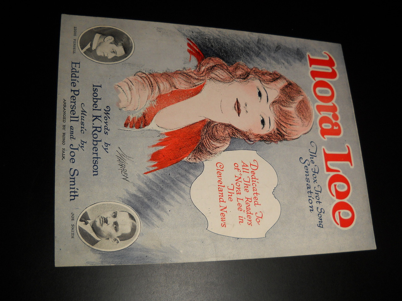 Sheet Music Nora Lee Readers of the Cleveland News Fox Trot Song Sensation 1925