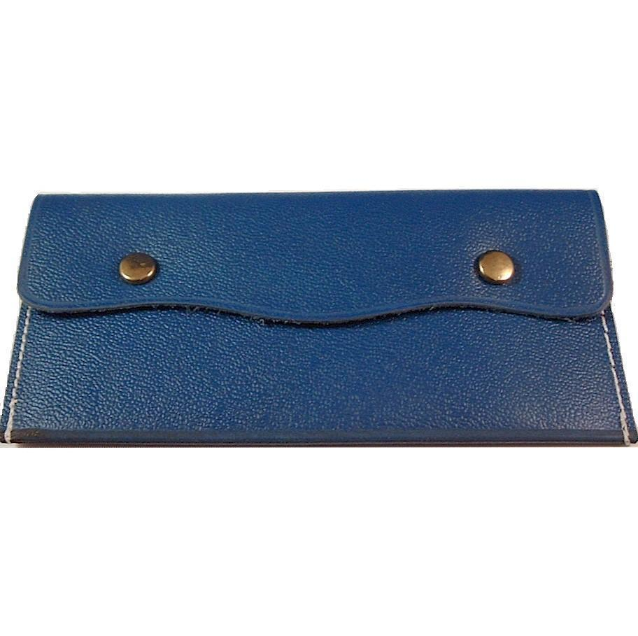 Leather Change Coin Purse Rectangle Shape BLUE
