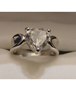 Ring Sterling Silver Heart Shaped CZ New 2 Carat - $50.00